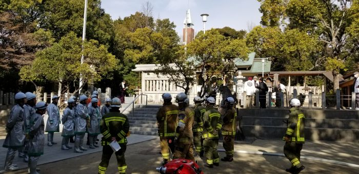 文化財消防団訓練