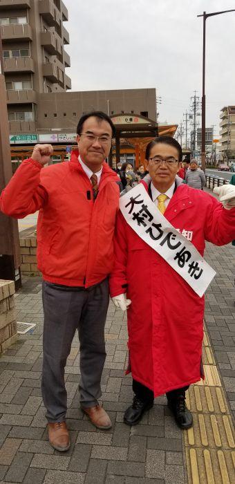 大村知事候補が小幡駅で街頭演説を行いました。