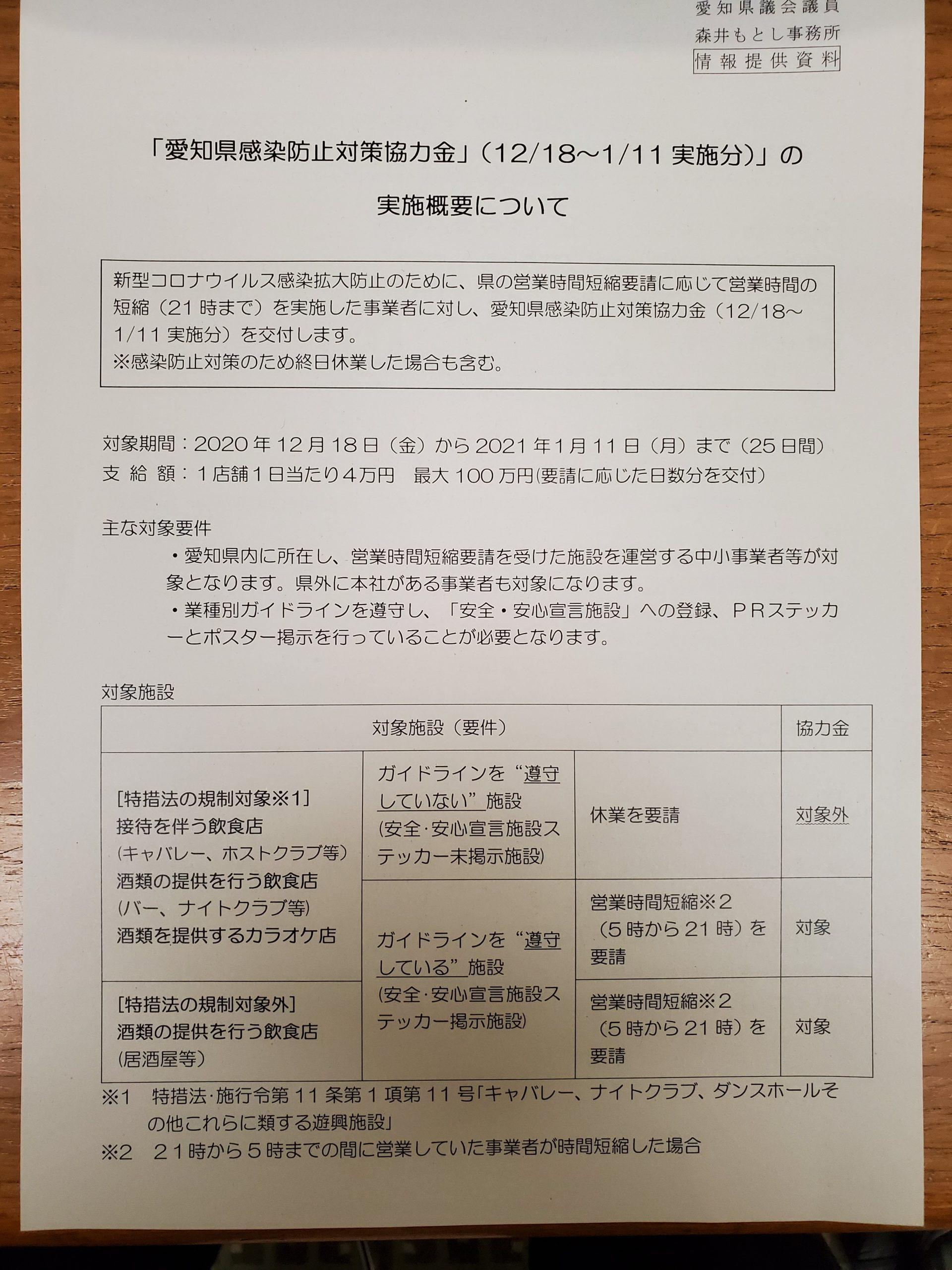 愛知県全域で営業時間短縮要請です。